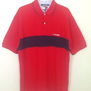 Tommy Hilfiger red/navy polo with stripe/logo